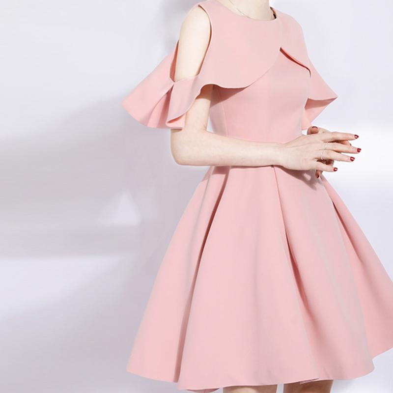 粉色伴娘服仙气质姐妹裙短款伴娘礼服女2019新款伴娘团洋装小礼服