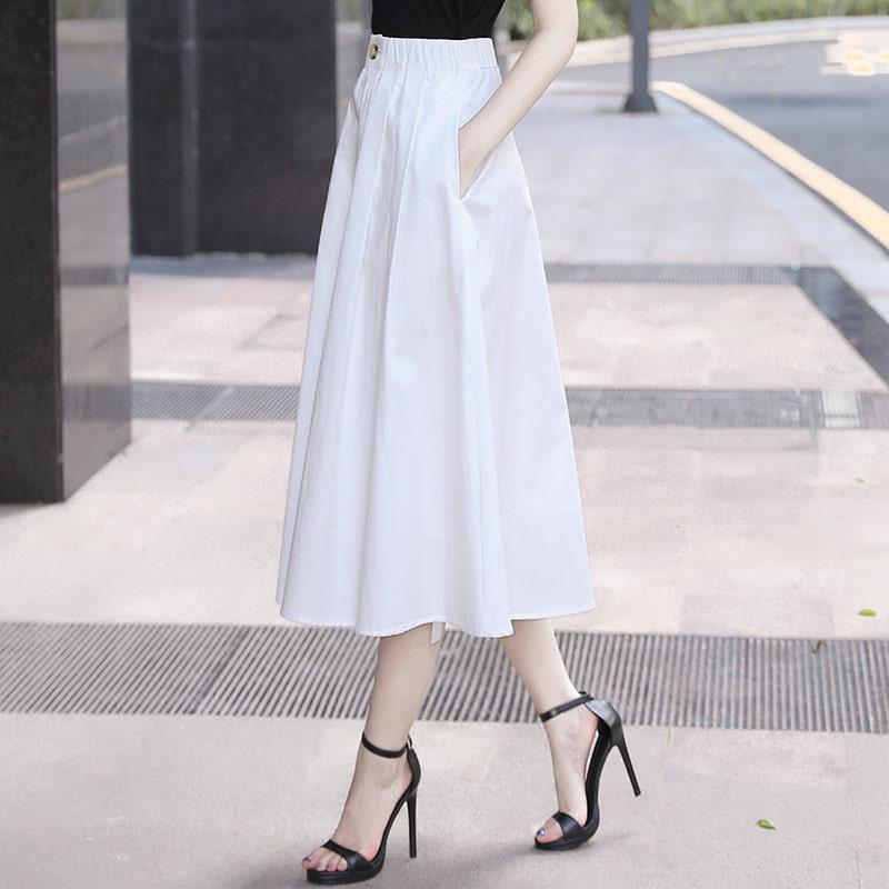 2021夏季新款今年流行裙子女半裙中长款白色半身裙长裙a字夏薄款
