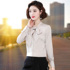 Red bow-knot shirt women's long-sleeved 2021 autumn new style Korean style fashion streamer top bottoming shirt inch