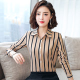 2019 new autumn vertical stripe chiffon shirt female long-sleeved professional clothing shirt casual slim shirt shirt