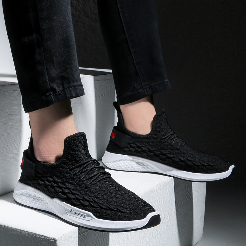 新款潮鞋休闲鞋百搭飞织龙鳞鞋运动鞋跑步鞋 2019 颐娉男鞋夏季透气