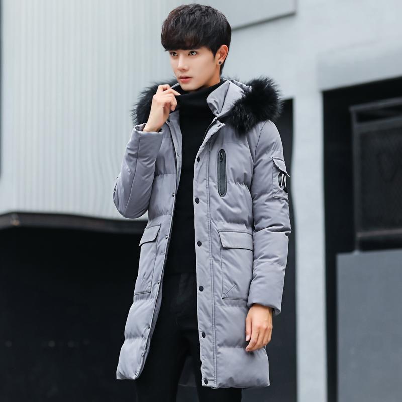 中长款棉衣男青少年韩版大毛领男士棉服加厚保暖潮流学生棉袄冬季