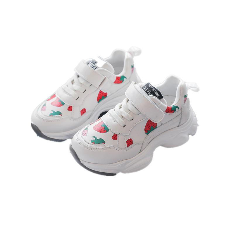 春季新款单鞋儿童草莓运动鞋魔术贴厚底时尚休闲鞋潮 2020 女童鞋子