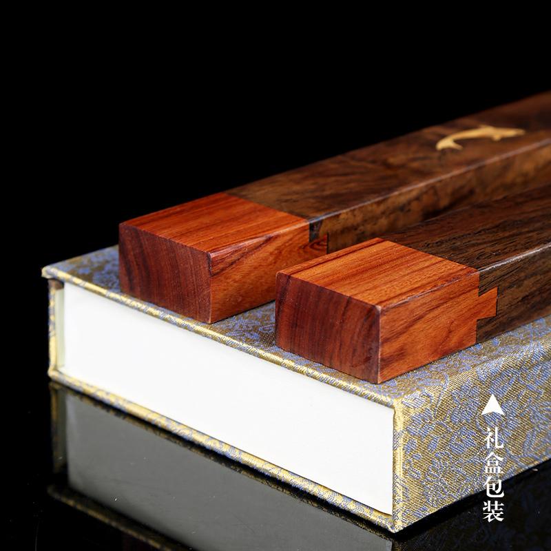 精品榫卯实木压纸条红酸枝黄铜镇纸