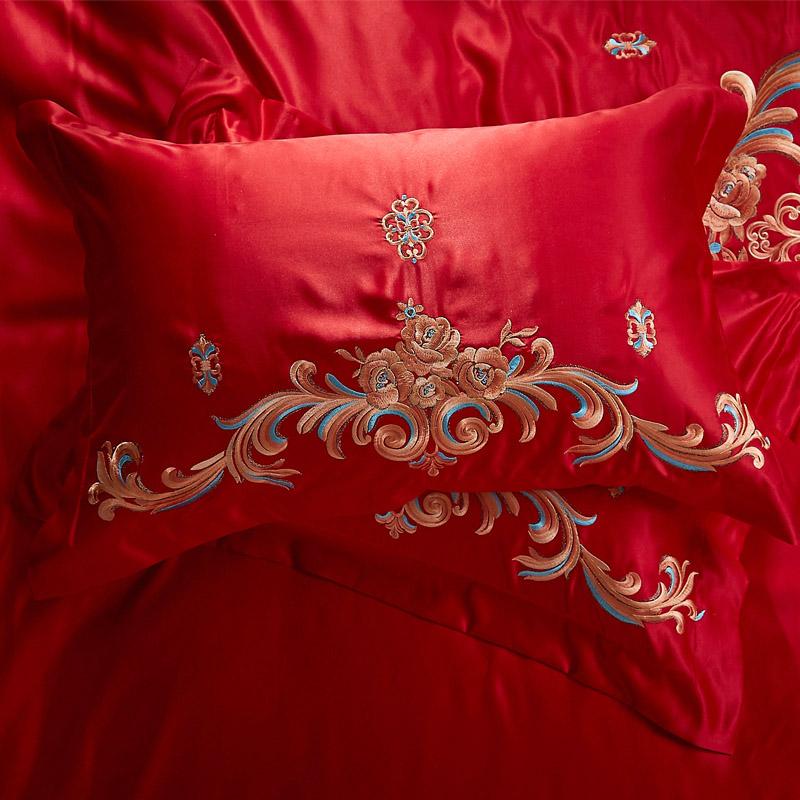 米床双人六件套 1.8 罗兰家纺新婚庆四件套大红色全棉刺绣结婚床品