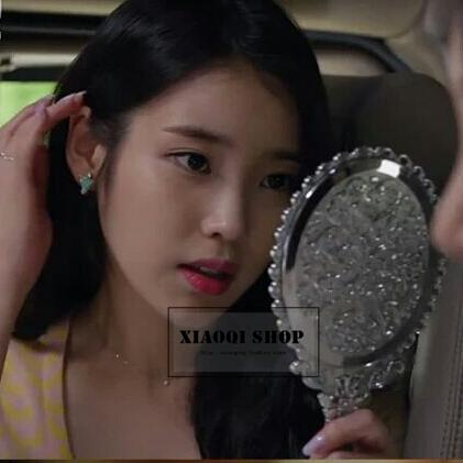 包郵韓國進口鏡子 化妝鏡 手拿把手橢圓形 公主鏡 全智賢星星同款