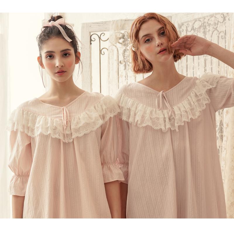 夏季复古蕾丝宫廷风家居服女式睡裙长款纯棉大码公主睡衣女薄款夏