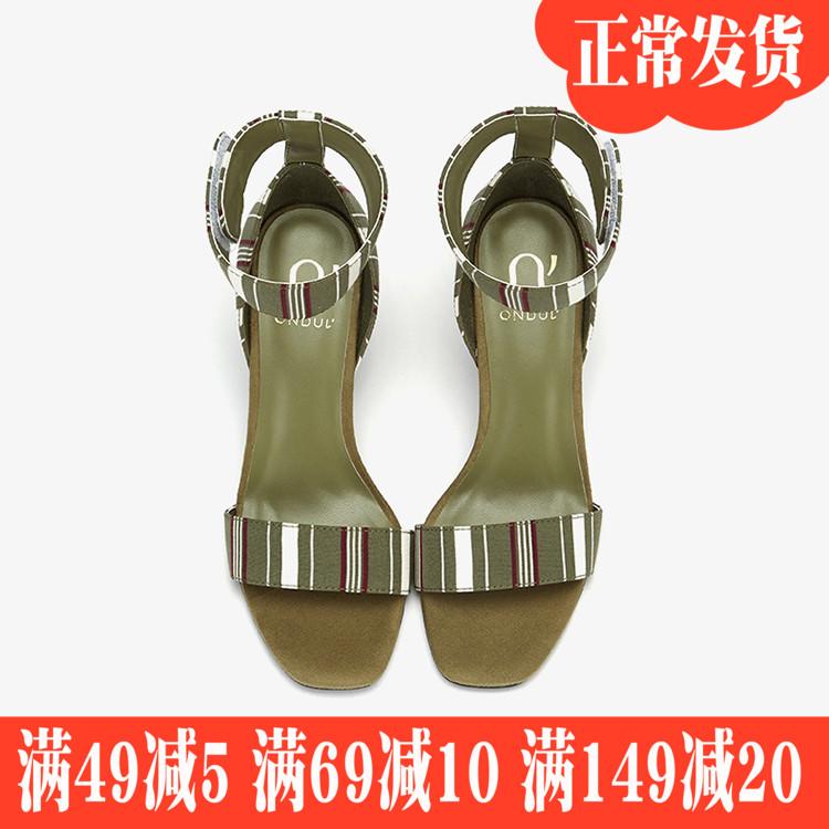 Daphne/達芙妮圓漾夏季新品高跟一字扣趾腳踝帶女涼鞋1018303823