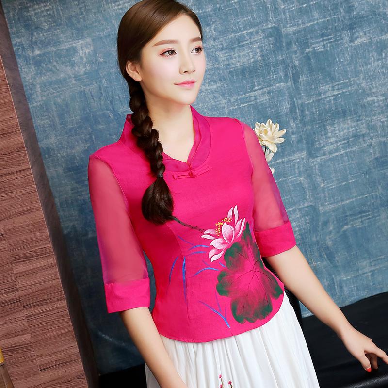 唐装女上衣夏装低领新款 中袖亚麻短款修身民族风复古中国风女装