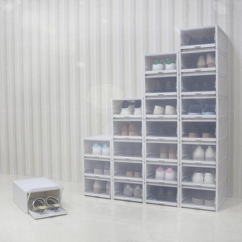 加厚透明鞋盒推拉抽屉式男女鞋子收纳盒防尘塑料自由组合整理神器