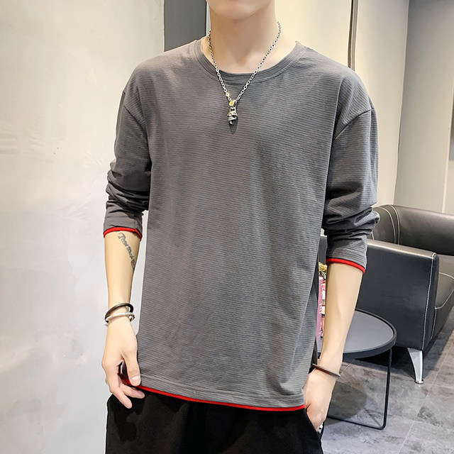 Long-sleeved t-shirt men Korean tidal loose cotton shirt clothes 2020 Autumn on the new body long-sleeved shirt tide brand