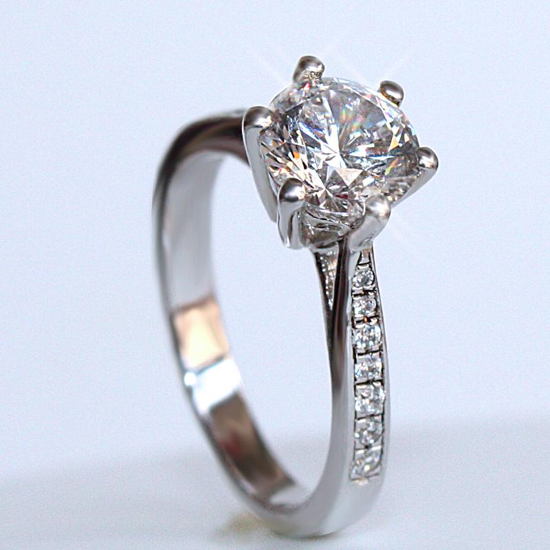 求婚戒指 铂金结婚仿真钻戒女正品 爪钻戒 6 克拉经典 1 莫桑石钻戒女