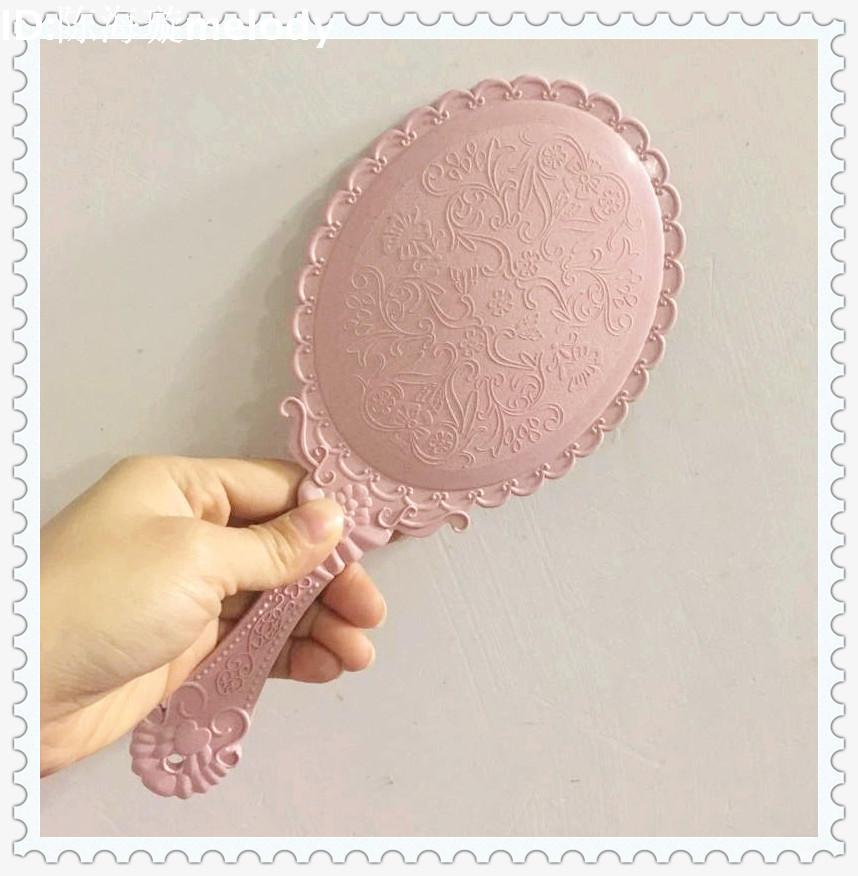 创意复古花纹手柄化妆镜化妆镜子便携随身花边镜手拿手持镜包邮
