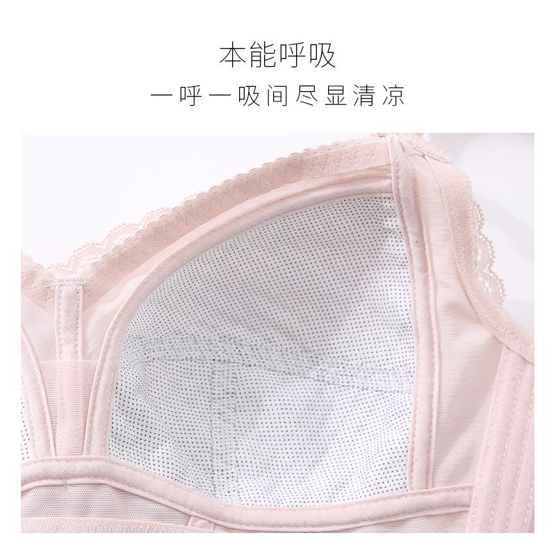 内衣女薄款无钢圈文胸大胸显小聚拢调整型大码夏季性感蕾丝胸罩
