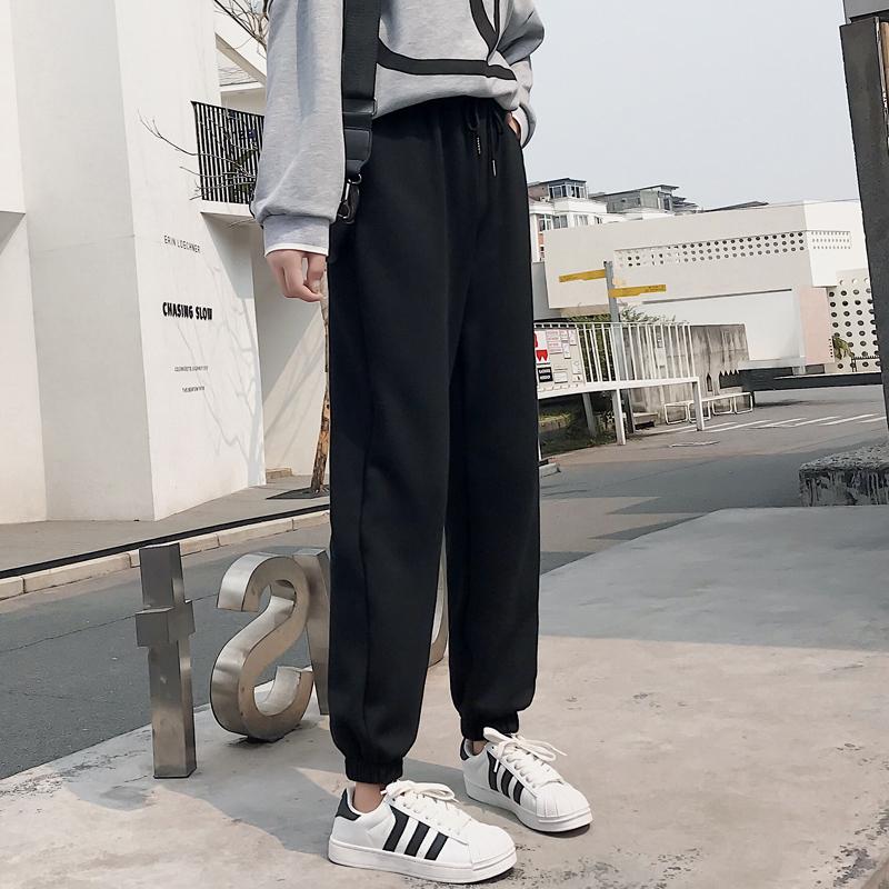 2020秋季新款灰色运动裤女宽松束脚哈伦裤子直筒加绒外穿休闲卫裤