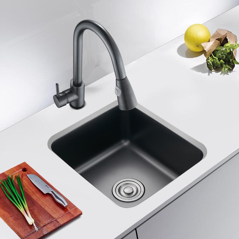 不锈钢厨房小洗菜盆台下 304 纳米黑色吧台小水槽阳台迷你小号单槽