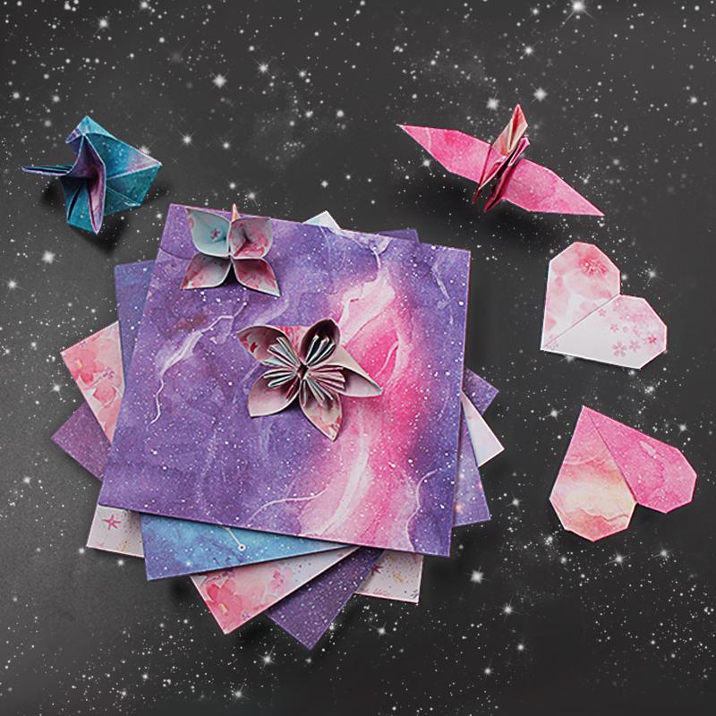 星空彩色碎印花手工折纸儿童剪纸