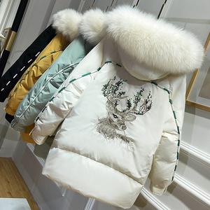 羽绒服2020年新款女冬装韩版时尚大毛领白鸭绒中长款小个子外套厚