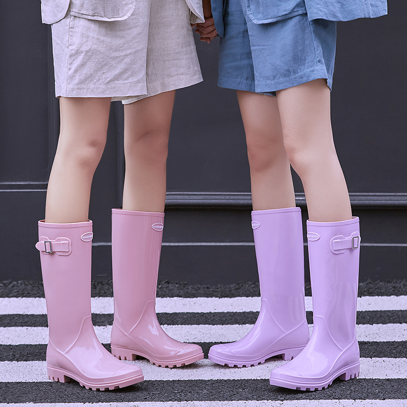 女士水鞋高筒果冻雨鞋女时尚款外穿韩国可爱防水雨靴成人水靴防滑