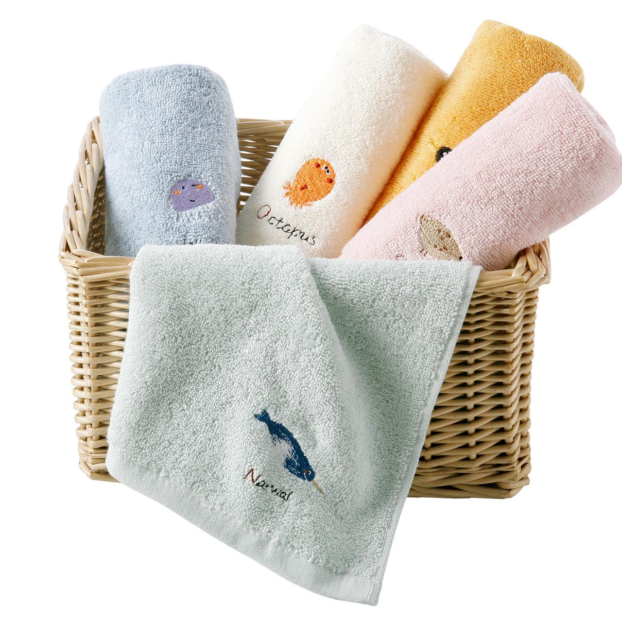 【5条】金号纯棉小毛巾儿童成人男女洗脸家用卡通柔软吸水不掉毛