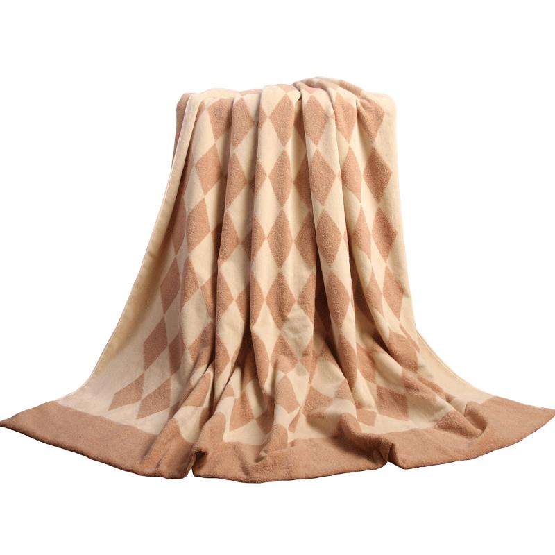 金号纯棉毛巾被空调毯盖毯 全棉无捻提缎割绒巾被 送礼盒手提袋
