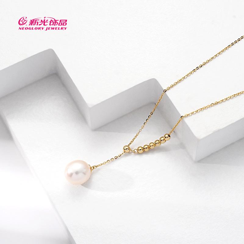 新光饰品S925纯银不对称淡水珍珠项链锁骨链女气质高级感冷淡风