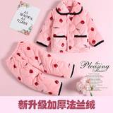 Children's pajamas women thick flannel boys baby pajamas coral fleece suit girls pajamas long sleeves autumn and winter