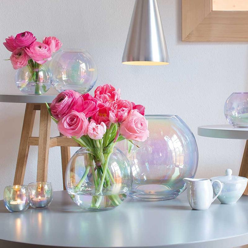 北歐透明漸變色插花鮮花客廳 珍珠彩虹淚珠玻璃花瓶 Pearl LSA 英國