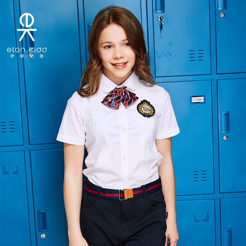伊頓紀德英倫童裝中大童蕾絲襯衣女童白色純棉短袖襯衫09C229