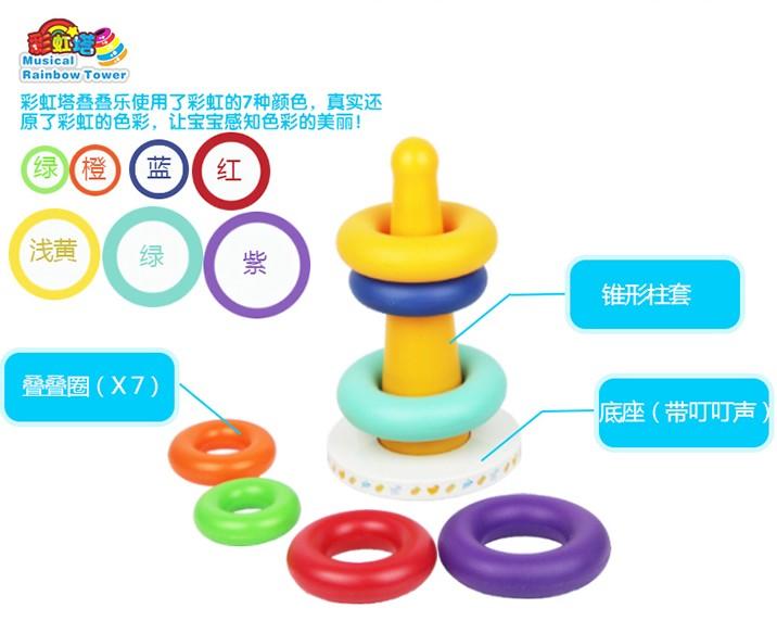 0-1岁婴幼儿童七彩套圈音乐七彩虹塔不倒翁 层层叠套杯益智力玩具