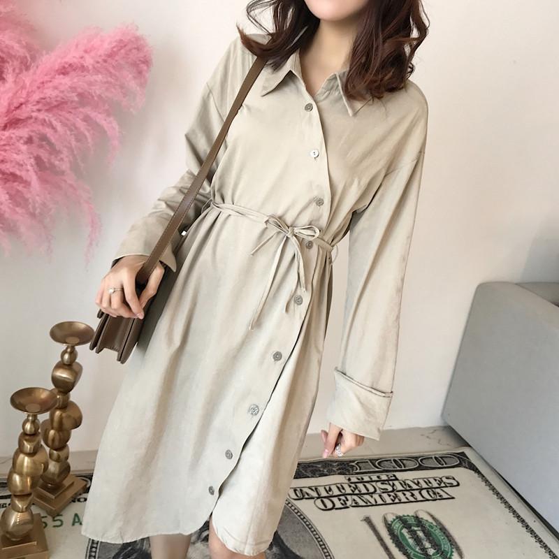 2018春装新款韩版女装宽松POLO领斜边不规则收腰系带棉麻连衣裙女