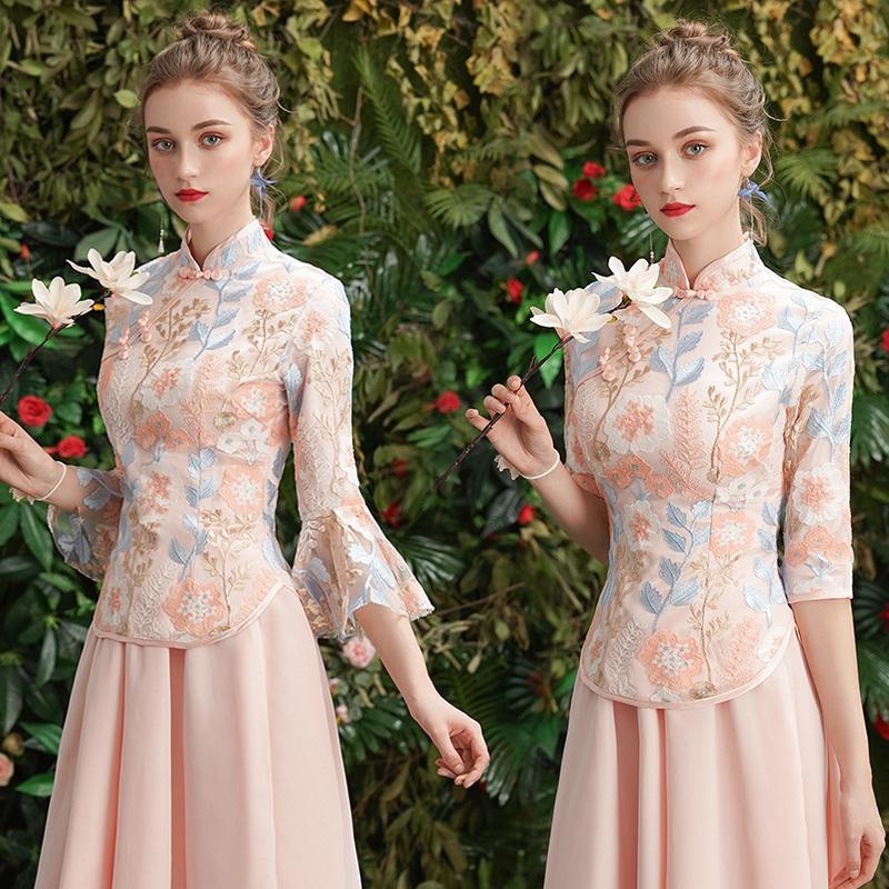 伴娘服2019新款秀禾中式礼服粉色中长款中国风姐妹裙结婚伴娘团女