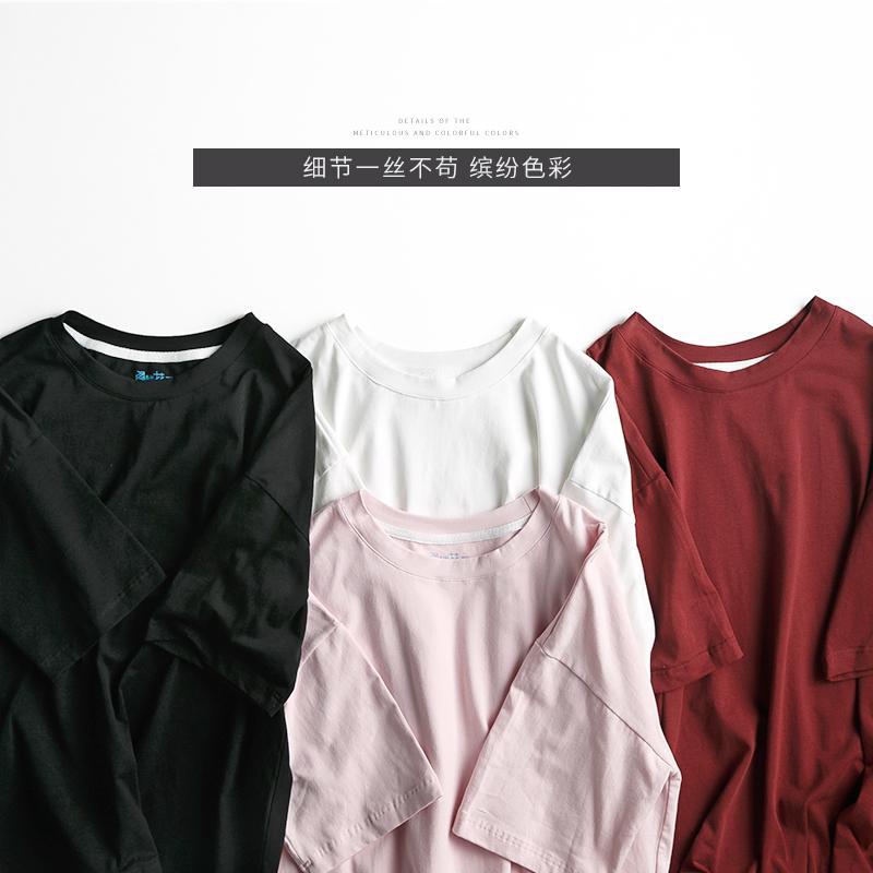 阁楼花开短袖T恤女夏季宽松韩版衣服纯色体恤学生简约半截袖上衣
