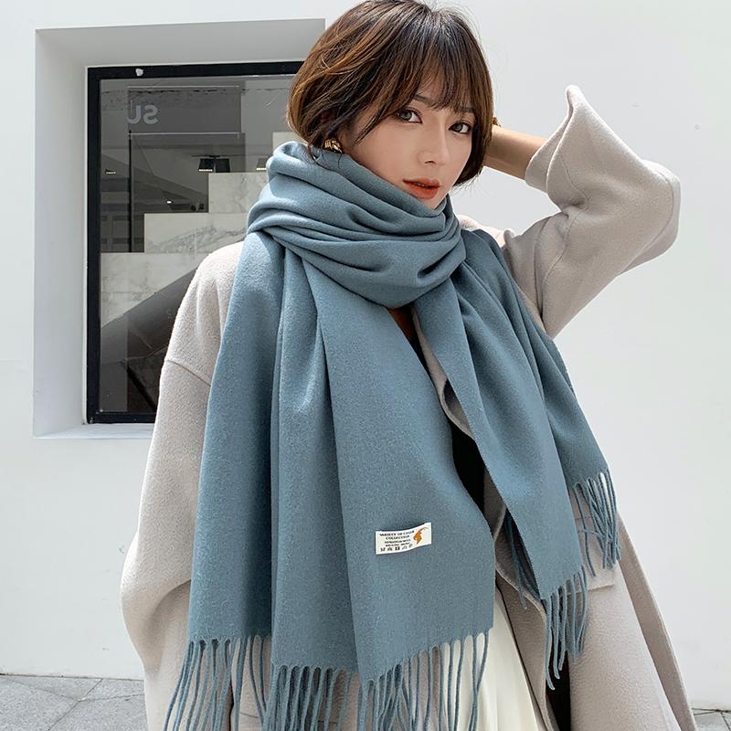 欧美风高端羊毛围巾女冬季纯色经典百搭羊绒披肩两用长款加厚保暖