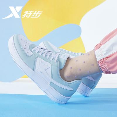 特步板鞋女鞋男鞋夏季新款空军一号小白鞋女白色鞋子透气运动鞋男