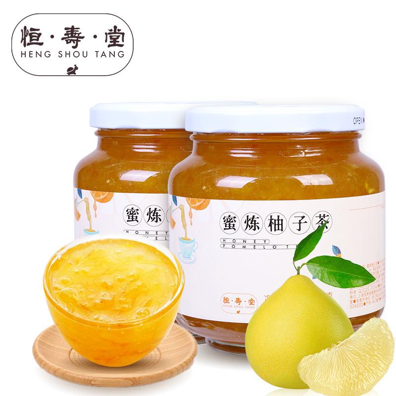 恒寿堂蜂蜜柚子茶1000g*2瓶蜜炼柚子茶2KG冲饮果茶花果茶酱大罐装