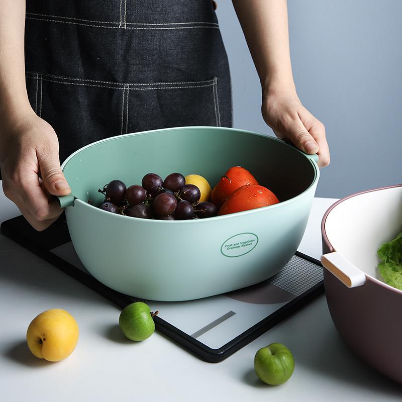 舍里双层塑料沥水篮厨房洗菜神器淘米篮水果盆水果盘收纳篮洗菜盆高清大图