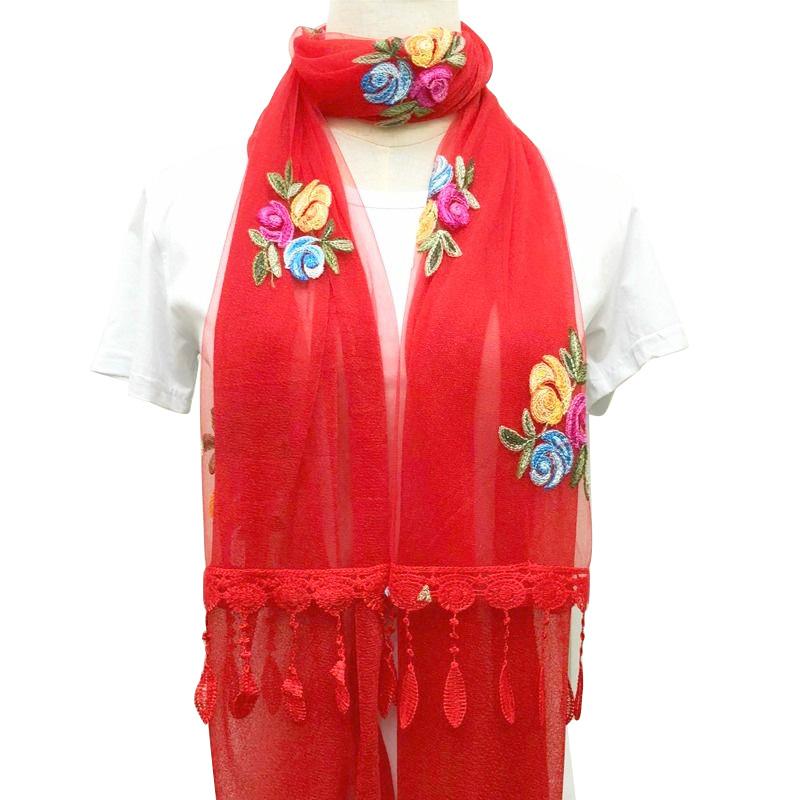 网红围巾女韩版女士刺绣花朵双层拼接民族风披肩纱巾秋季薄丝巾冬主图