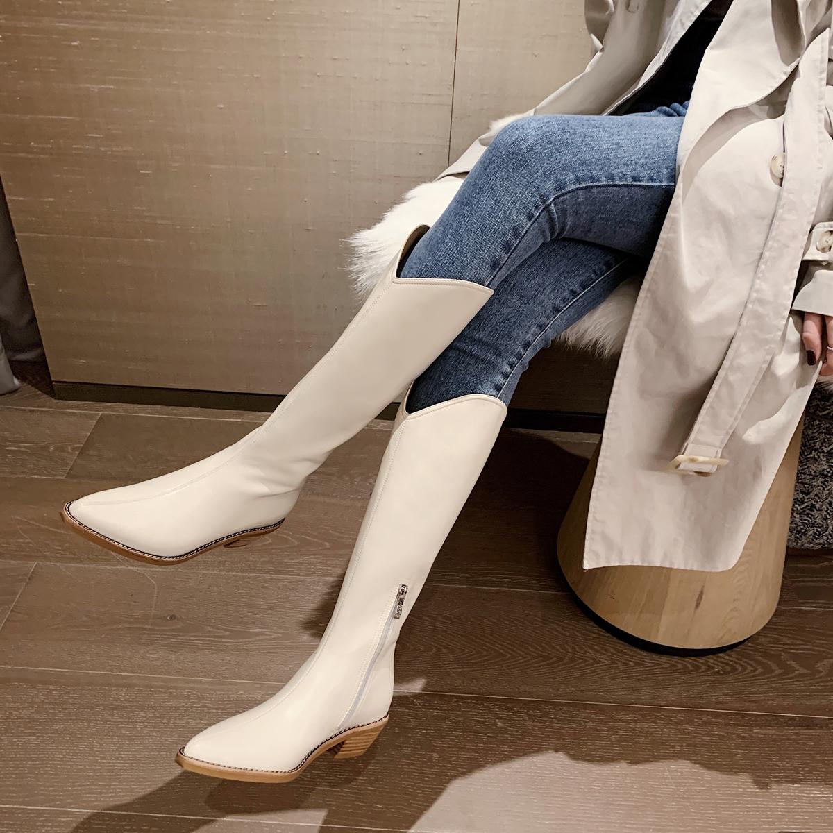 西部牛仔靴子新款粗跟尖头长筒靴女复古骑士靴 危情邀约 王小毒