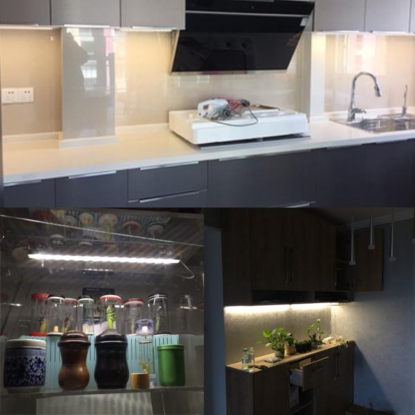 柜底吊柜灯条厨房灯酒柜货架柜玄关灯带照明 LED 超薄橱柜灯管 220V