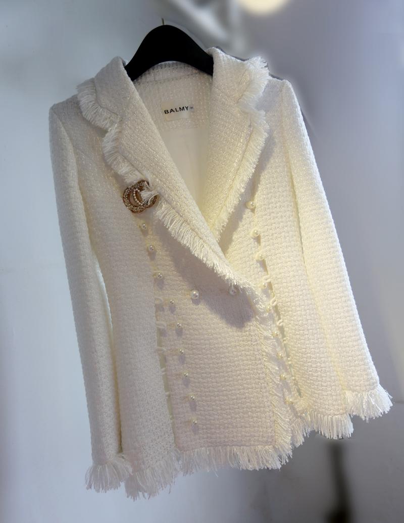 2020春夏白色小香风毛呢外套西装领女士风衣珍珠扣精品高档流苏