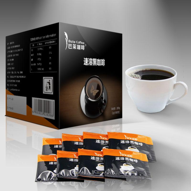 速溶黑咖啡100袋纯苦咖啡粉云南小粒咖啡粉特浓无蔗糖100杯礼盒装