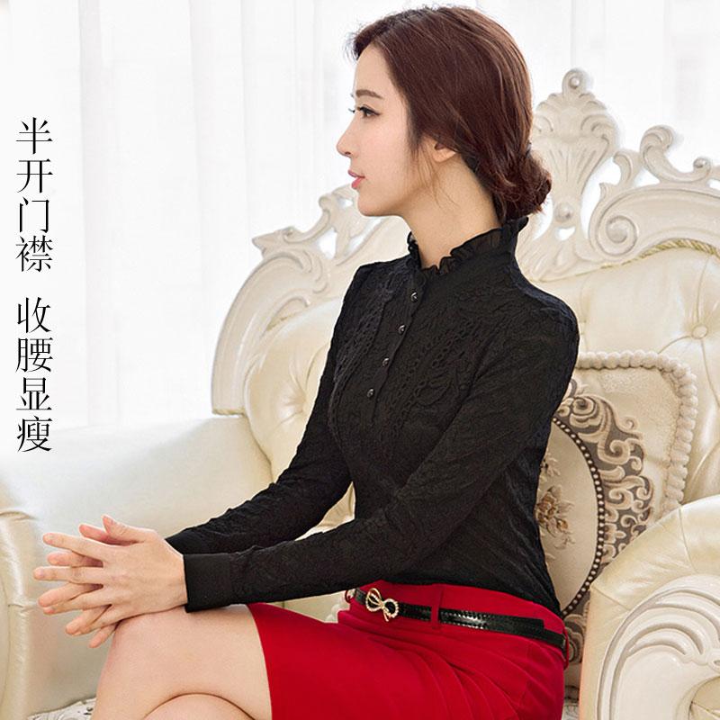 冬季保暖内衣女加绒加厚紧身单件蕾丝发热上衣大码秋衣高领打底衫