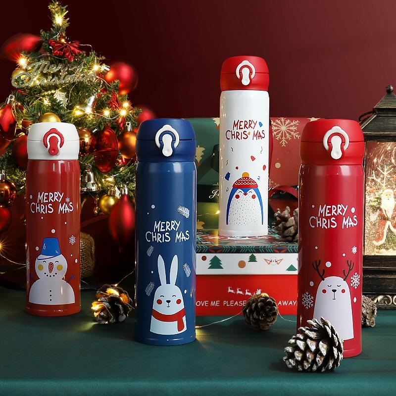 圣诞节保温杯女弹跳盖圣诞礼盒水杯杯子网红卡通礼物麋鹿可爱创意