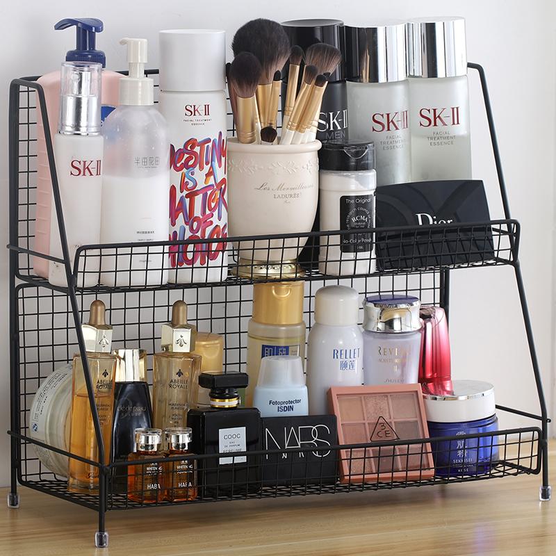 北欧ins铁艺厨房置物架化妆品收纳架宿舍收纳架桌面置物架整理架