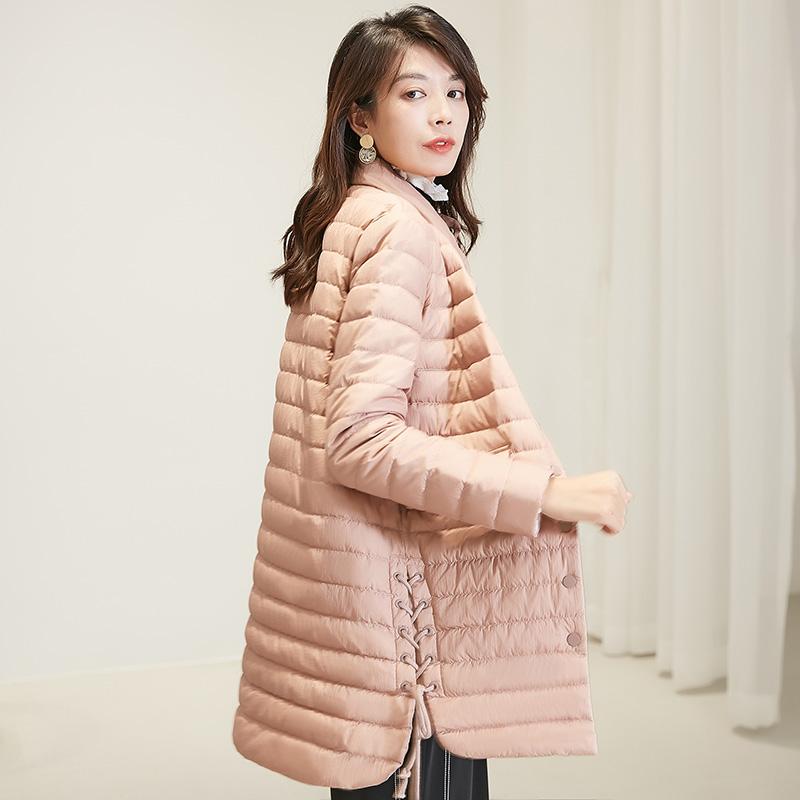 冰洁时尚羽绒服女中长款立领纯色轻薄羽绒服女J90131122D