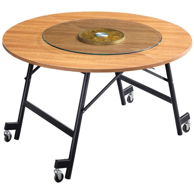 人宿舍酒店餐厅转盘圆桌面吃饭桌子 10 简易餐桌家用现代折叠大圆桌