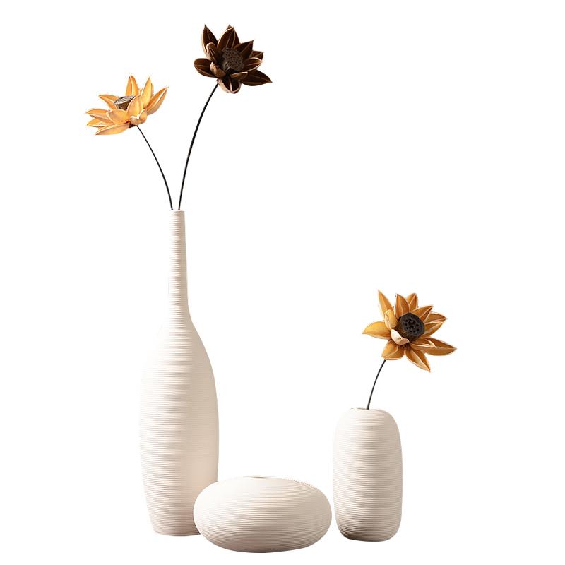 现代简约白色陶瓷器客厅插花艺干花花瓶摆件北欧餐桌电视柜装饰品