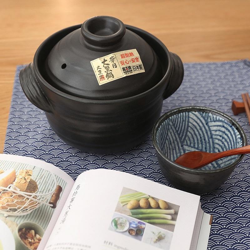 木馱【日本進口&製造 萬古燒大黑 雙蓋土鍋】砂鍋煲湯米飯煲仔飯