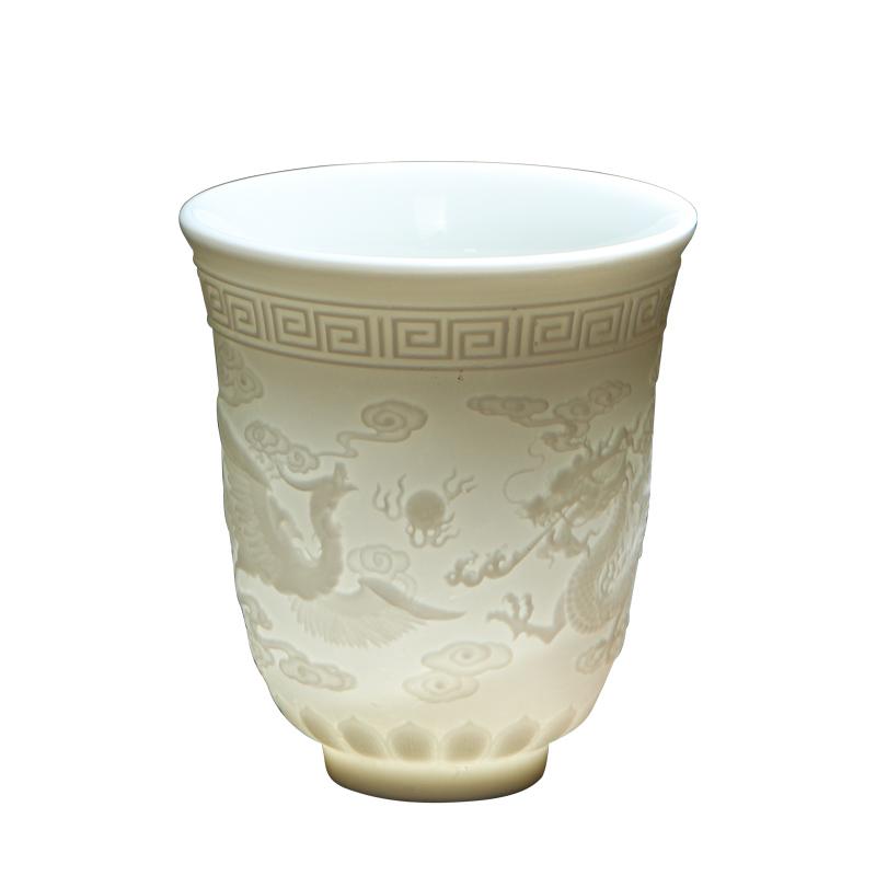 唐义 白瓷羊脂玉 大枫桥夜泊浮雕杯 215ML 5.8元包邮